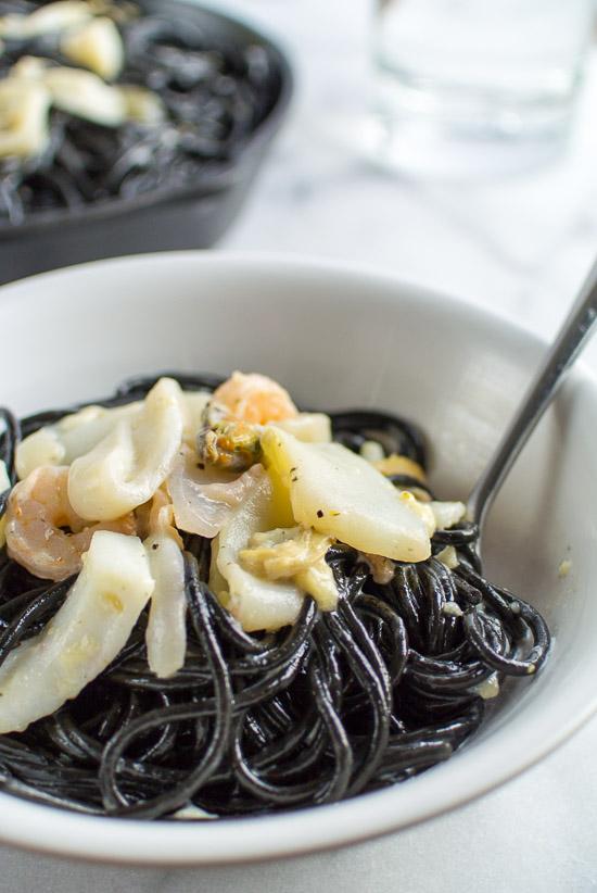 Cuttlefish ink pasta with seafood (spaghetti al nero di sepia)